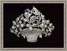 Vintage Guglielmo Cini Sterling Silver Floral Brooch