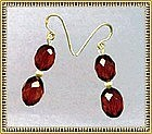 14K Gold Red Cherry Double Bead Earrings MIMI DEE