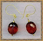 18K GOLD Faceted Cherry Red Earrings