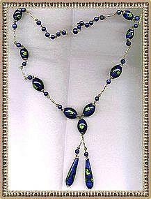 Vintage Necklace Green Cobalt Blue Glass Beads Foil