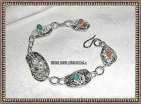 Signed MIMI DEE Fine Silver Bracelet Coral Hand Built