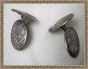 Antique Victorian Edwardian Sterling Silver Cufflinks 2