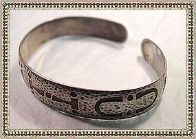 Vintage Sterling Arts Crafts Bangle Bracelet Campfire