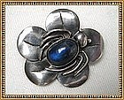 Vintage Sterling Silver Pin Brooch Bug Flower Blue Cab