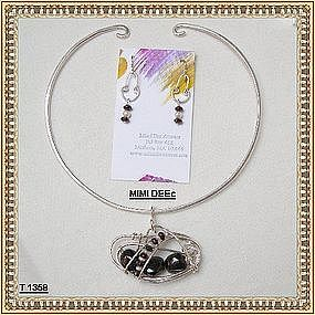 Signed MIMI DEE Sterling Silver Necklace Set 60+ Carats