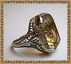 Vintage Edwardian Gold Ring 14K White Gold Citrine