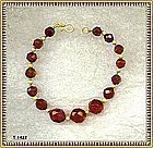 18K Gold Red Cherry Amber Bracelet Faceted Knotted