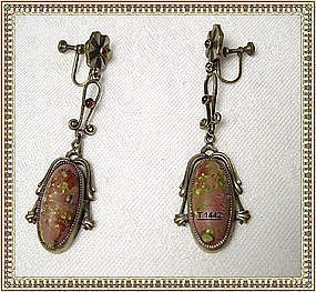 Vintage Art Nouveau Art Glass Dangle Earrings Steere?