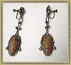 Vintage Art Nouveau Style Earrings Art Glass Dangle SB