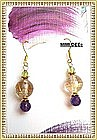 18K Gold Golden Rutilated Quartz Earrings Amethyst