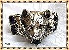 Bob Stringer Sterling Silver Cat Cuff Amethyst Bench