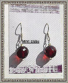 18K Gold Red Amber Bead Earrings Faceted 11mm