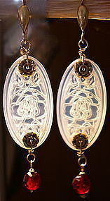 Sterling Etched Opal Glass Red Faceted Amber Earrings