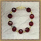 18K Cherry Red Bracelet Faceted 14mm Beads