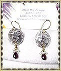 Signed Studio Earrings 18K GOLD Fine Silver Tourmaline