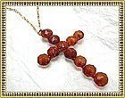 Antique Victorian Amber Cross Necklace Gold Gilt Chain