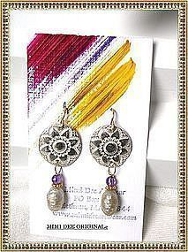 Artist Signed Earrings 14K Pearl Amethyst Studio Silver