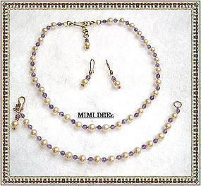 22K Gold Sterling Pearl Amethyst Necklace Earring