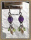 14K Gold Amethyst Coin Pearl Peridot Earrings Hand Made