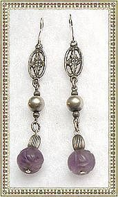 Vintage Sterling Silver Carved Amethyst Earrings