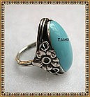 Vintage Sterling Silver Arts Crafts Ring Oval Glass Cab