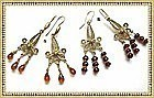 22K Gold Vermeil on Sterling Silver Earrings Duo Garnet