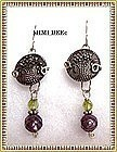 Signed Sterling Earrings Victorian Silver Luster Button