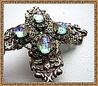 Vintage Saphiret Pin Art Glass Cabs Ornate Brass Brooch