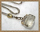 Vintage Victorian Gold Slide Long Chain Crystal Fob