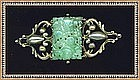 Vintage Peruzzi Boston Sterling Pin Pierced Jadeite