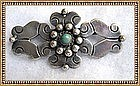 Vintage C 1940  Mexico Silver Pin Pre Assay Green Cab