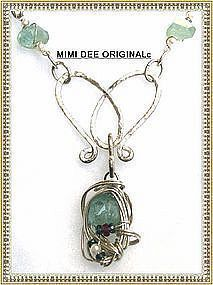 Signed Sterling Aquamarine Necklace Sapphires Pearls