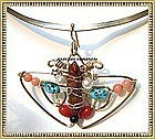 Signed Studio Butterfly Necklace Collar Pendant Gems