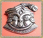 Vintage Mexican Sterling Face Pin Man Mask Idol Bird