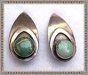 Vintage Sterling Carlos Diaz Turquoise Earrings Clip On