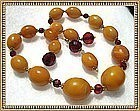 Vintage Antique Butterscotch Amber Necklace Earrings