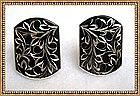 Vintage Signed Sterling Amita Earrings Black Enamel SB