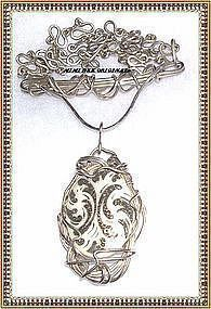 Signed Sterling Sculpture Necklace Handwrought Chain