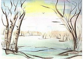 Signed Original Watercolor Drawing Painting Birch Trees