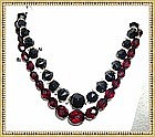 Vintage Victorian Jet, Cherry Amber Choker Necklace Duo