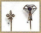 Vintage 14K Gold Stick Pin Duo, Signed Kirby, Fleur de