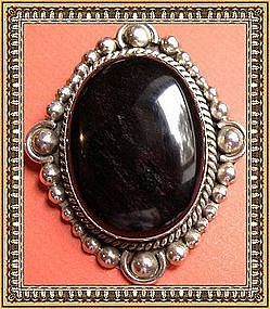 Vintage Sterling Silver Mexican Pin Pendant Bold Onyx