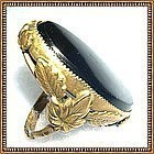 Vintage Signed Orlando Brass Ring Black Glass Foliate