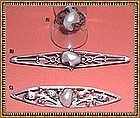 Vintage Arts  Crafts Sterling Pearl Pin Ring Trio