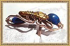 Signed Studio Bold Copper Lapis Ring Presentation Box
