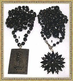 Vintage Victorian Black Glass Muff Chain Necklace Duo