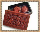 Vintage Red Lacquer Carved Cinnabar Box Clip Button Lot