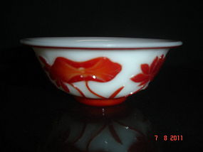 Antique Chinese carved Peking glass overlay bowl