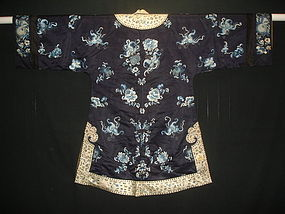 Antique Han Chinese embroidered Midnight blue silk robe