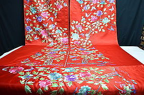 Antique Chinese embroidered silk for Manchu long robe
